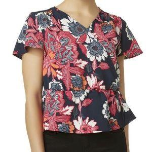 Tops - multicolor floral peplum top, size Petite XL